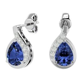 1.60 Carat Tanzanite and Diamond Pear Shape Stud Earrings In 14 Karat White Gold