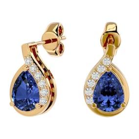 1.60 Carat Tanzanite and Diamond Pear Shape Stud Earrings In 14 Karat Yellow Gold