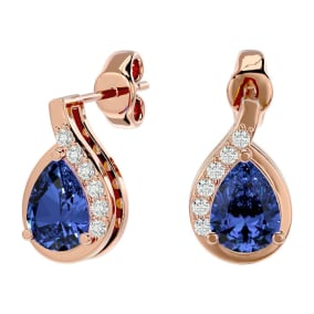 1.60 Carat Tanzanite and Diamond Pear Shape Stud Earrings In 14 Karat Rose Gold