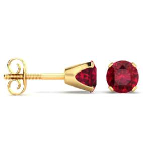 1/3 Carat Ruby Stud Earrings in 14 Karat Yellow Gold Over Sterling Silver