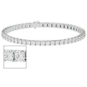 5 Carat Moissanite Tennis Bracelet In 14 Karat White Gold, 7 Inches