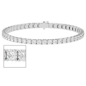 8 Carat Moissanite Tennis Bracelet In 14 Karat White Gold, 7 Inches