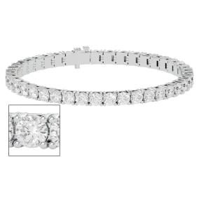 11 1/2 Carat Moissanite Tennis Bracelet In 14 Karat White Gold, 7 Inches