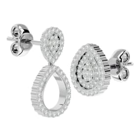 3/4 Carat Diamond Pear Shape Transformable Stud and Dangle Earrings In 14 Karat White Gold