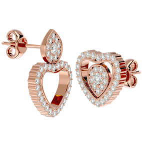 1/2 Carat Diamond Heart Shape Transformable Stud and Dangle Earrings In 14 Karat Rose Gold