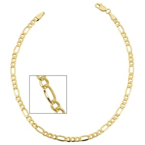3.3mm Figaro Chain Bracelet, 8 1/2 Inches, Yellow Gold