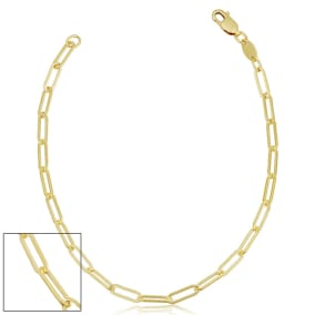 2.5mm Paperclip Chain Bracelet, 7 1/2 Inches, Yellow Gold