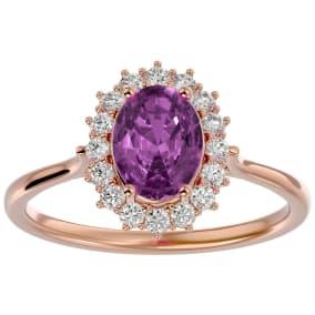1 3/4 Carat Oval Shape Pink Topaz and Halo Diamond Ring In 14 Karat Rose Gold