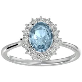 1.40 Carat Oval Shape Aquamarine and Halo Diamond Ring In 14 Karat White Gold