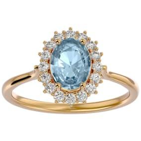 1.40 Carat Oval Shape Aquamarine and Halo Diamond Ring In 14 Karat Yellow Gold