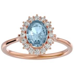 1.40 Carat Oval Shape Aquamarine and Halo Diamond Ring In 14 Karat Rose Gold