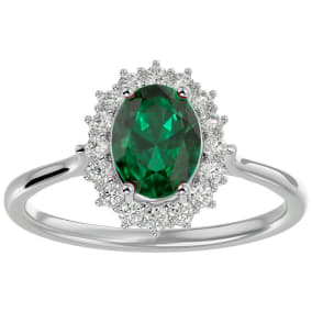 1.40 Carat Oval Shape Emerald and Halo Diamond Ring In 14 Karat White Gold