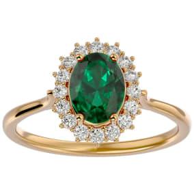 1.40 Carat Oval Shape Emerald and Halo Diamond Ring In 14 Karat Yellow Gold