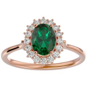 1.40 Carat Oval Shape Emerald and Halo Diamond Ring In 14 Karat Rose Gold