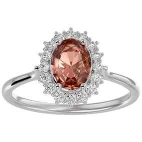 1.40 Carat Oval Shape Morganite and Halo Diamond Ring In 14 Karat White Gold