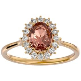 1.40 Carat Oval Shape Morganite and Halo Diamond Ring In 14 Karat Yellow Gold