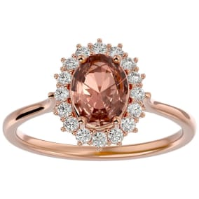 1.40 Carat Oval Shape Morganite and Halo Diamond Ring In 14 Karat Rose Gold