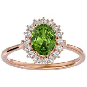 1.60 Carat Oval Shape Peridot and Halo Diamond Ring In 14 Karat Rose Gold