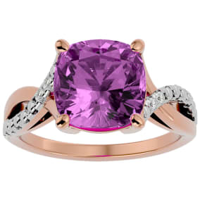 4 Carat Cushion Cut Pink Topaz and Diamond Ring in 10k Rose Gold