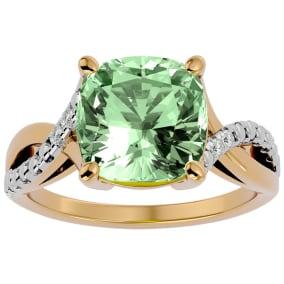 4 Carat Cushion Cut Green Amethyst and Diamond Ring in 10k Yellow Gold