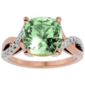 4 Carat Cushion Cut Green Amethyst and Diamond Ring in 10k Rose Gold