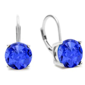 5 Carat Created Tanzanite Drop Earrings In Sterling Silver