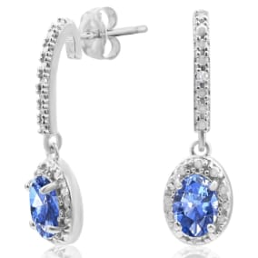 1 1/4ct Created Tanzanite and Diamond Oval Drop Earrings In Sterling Silver