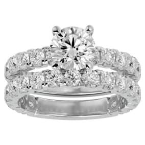 4 Carat Round Diamond Bridal Set In 14 Karat White Gold