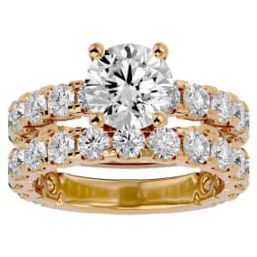 5 Carat Round Diamond Bridal Set In 14 Karat Yellow Gold