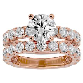 5 Carat Round Diamond Bridal Set In 14 Karat Rose Gold