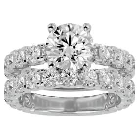 5 Carat Round Diamond Bridal Set In 14 Karat White Gold