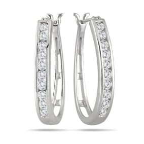 1 Carat Diamond Hoop Earrings In White Gold, 1 Inch. Beautiful, Good Sized, Perfect For Every Day!  Limited Quantity!