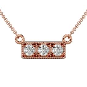 1/4 Carat Diamond Three Stone Necklace In 10 Karat Rose Gold, 18 Inches
