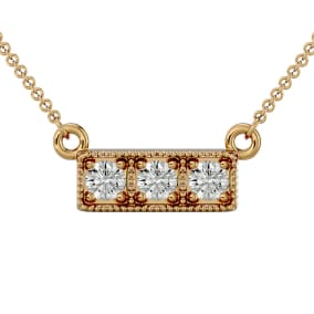 1/4 Carat Diamond Three Stone Necklace In 10 Karat Yellow Gold, 18 Inches