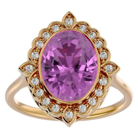 1 3/4 Carat Oval Shape Pink Topaz and Halo Diamond Ring In 14 Karat Yellow Gold