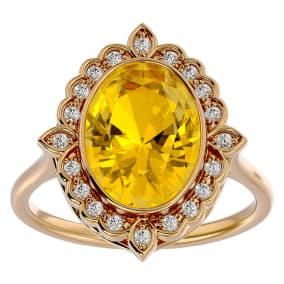 1 1/4 Carat Oval Shape Citrine and Halo Diamond Ring In 14 Karat Yellow Gold