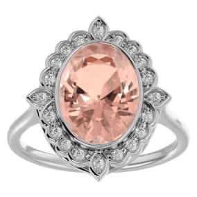 1 1/3 Carat Oval Shape Morganite and Halo Diamond Ring In 14 Karat White Gold