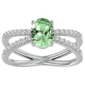 1 1/3 Carat Oval Shape Green Amethyst and Diamond Ring In 14 Karat White Gold