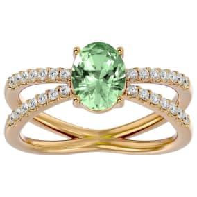 1 1/3 Carat Oval Shape Green Amethyst and Diamond Ring In 14 Karat Yellow Gold
