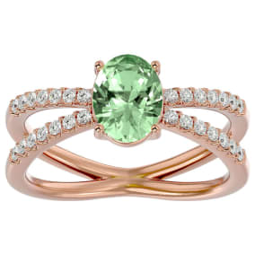 1 1/3 Carat Oval Shape Green Amethyst and Diamond Ring In 14 Karat Rose Gold