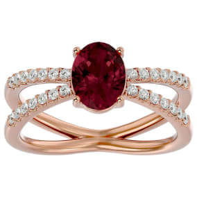 1 3/4 Carat Oval Shape Garnet and Diamond Ring In 14 Karat Rose Gold