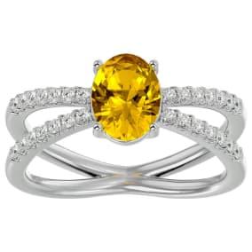 1 1/3 Carat Oval Shape Citrine and Diamond Ring In 14 Karat White Gold