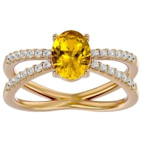 1 1/3 Carat Oval Shape Citrine and Diamond Ring In 14 Karat Yellow Gold