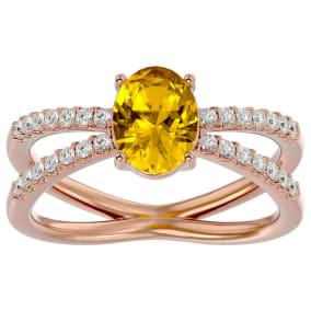 1 1/3 Carat Oval Shape Citrine and Diamond Ring In 14 Karat Rose Gold