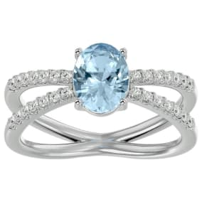 1.40 Carat Oval Shape Aquamarine and Diamond Ring In 14 Karat White Gold