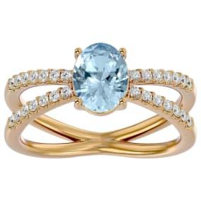 1.40 Carat Oval Shape Aquamarine and Diamond Ring In 14 Karat Yellow Gold