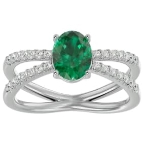 1.40 Carat Oval Shape Emerald and Diamond Ring In 14 Karat White Gold
