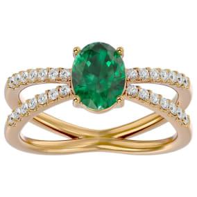 1.40 Carat Oval Shape Emerald and Diamond Ring In 14 Karat Yellow Gold