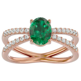1.40 Carat Oval Shape Emerald and Diamond Ring In 14 Karat Rose Gold