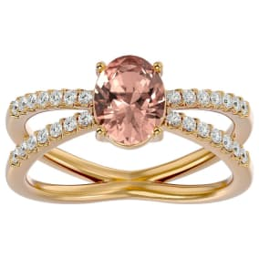 1.40 Carat Oval Shape Morganite and Diamond Ring In 14 Karat Yellow Gold